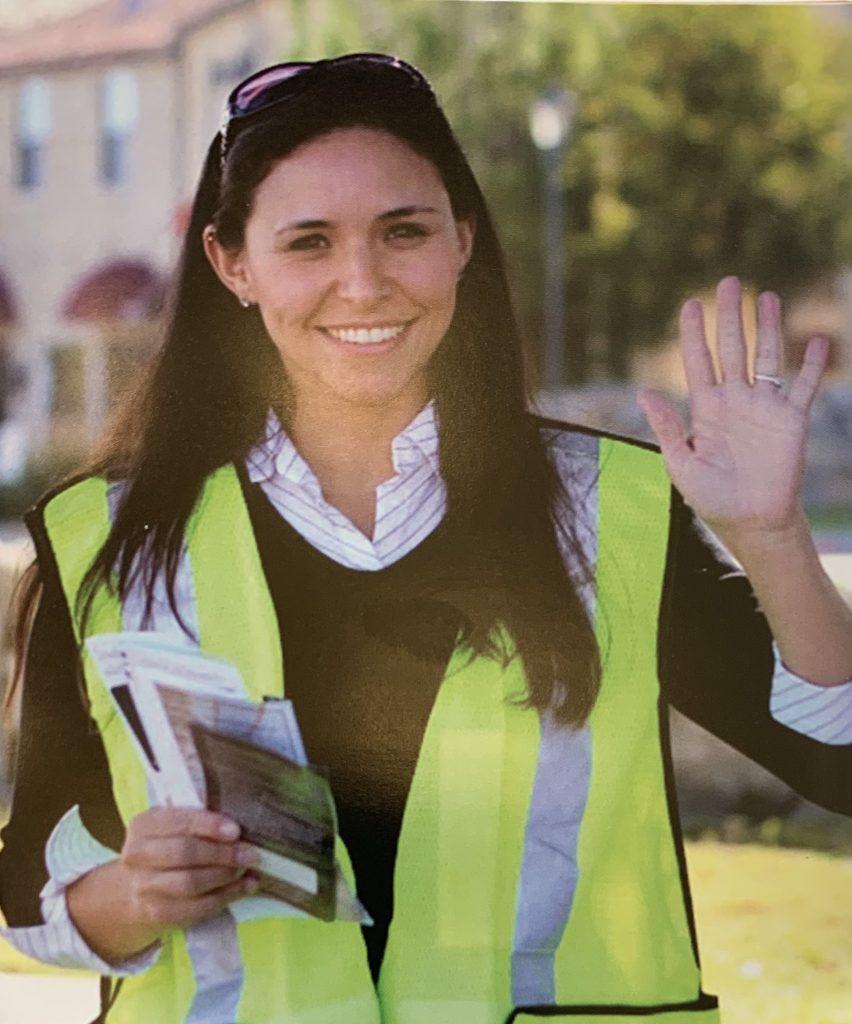 Young female sidewalk advocate